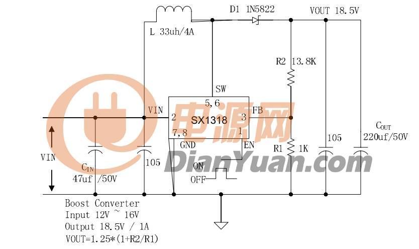 12v升19v大功率电源ic 大电流电源ic 2a升压ic 5a升压ic 5v升压电路