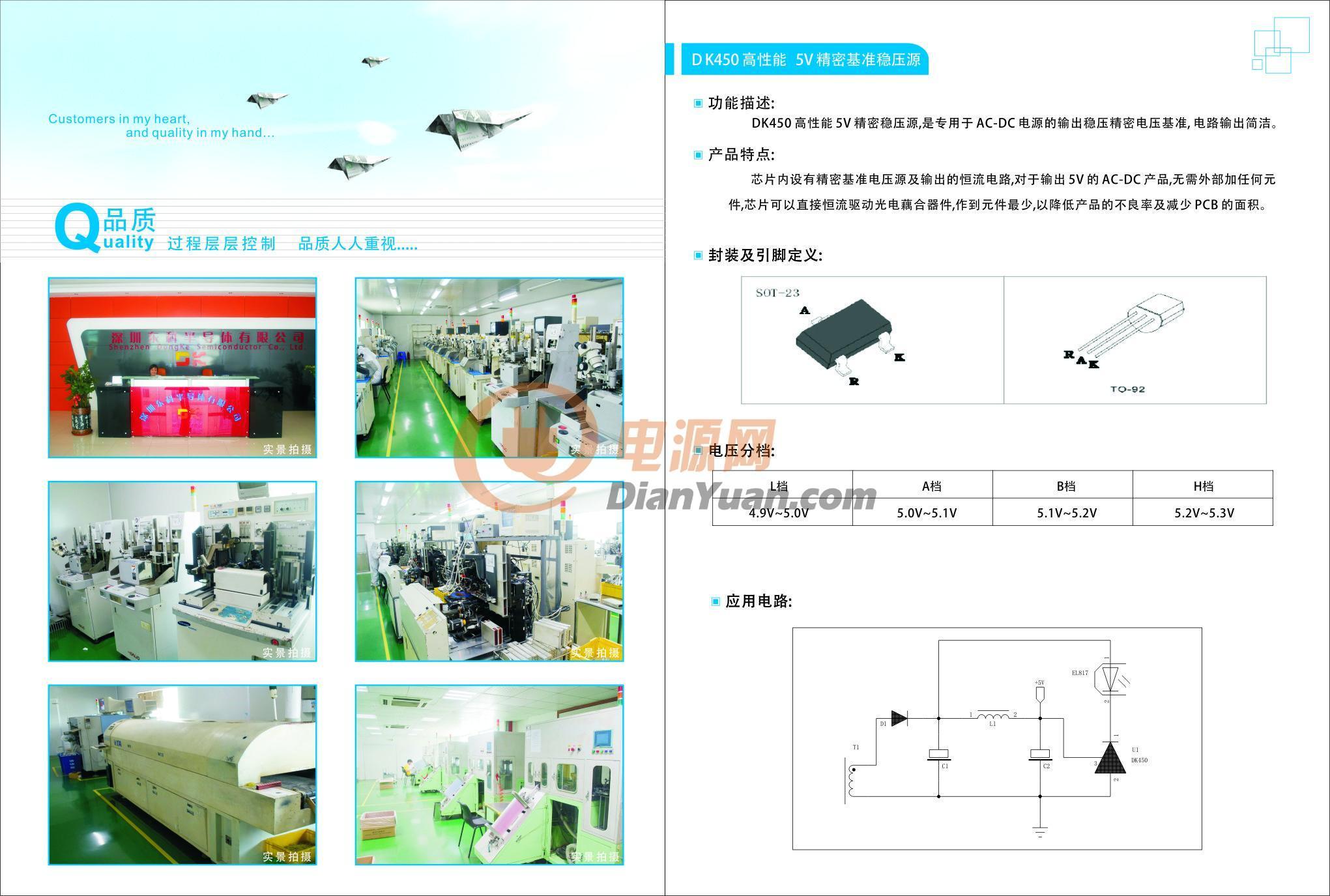 [产品介绍]: 跟传统芯片对比优势: 1.节省外部启动电阻,将其集成芯片内部。 2.光耦反馈部可以使用DK450代替(限5伏) 3.节省外部反馈绕阻,将其集成芯片内部。 4.节省外部取样电阻,将其集成芯片内部。 5.双芯片设计(高压:晶体管 低压:MOS管) 6.高压保护电路(85-265V)