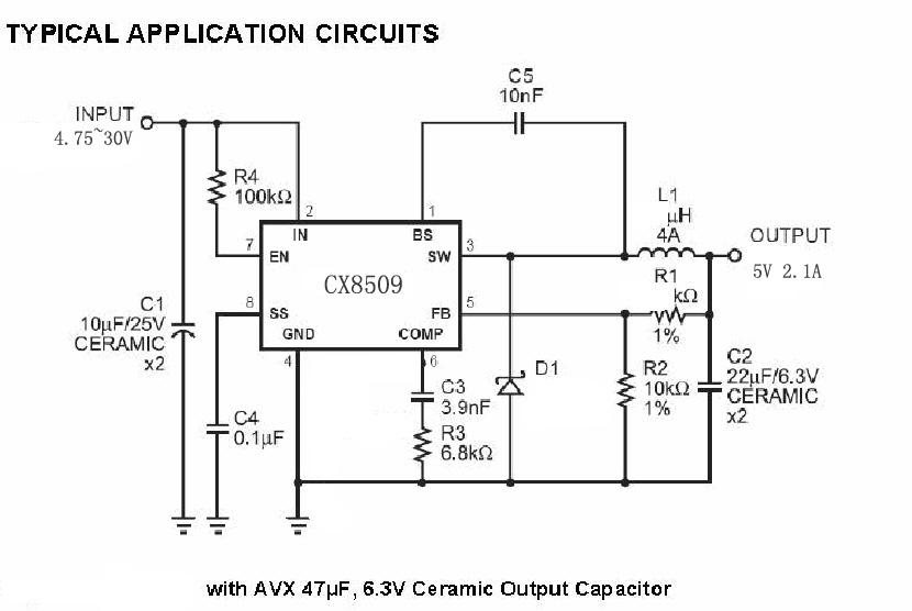 供应cx8509 2.1a,30v同步整流降压稳压器