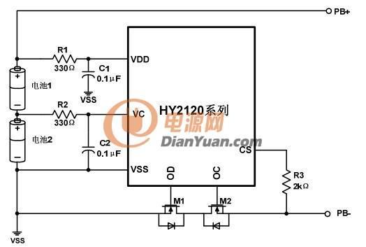 hy2120两节锂电池保护ic
