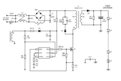 led驱动芯片hb5810  应 用 gu10/e27 led球泡灯,射灯   led par30,par